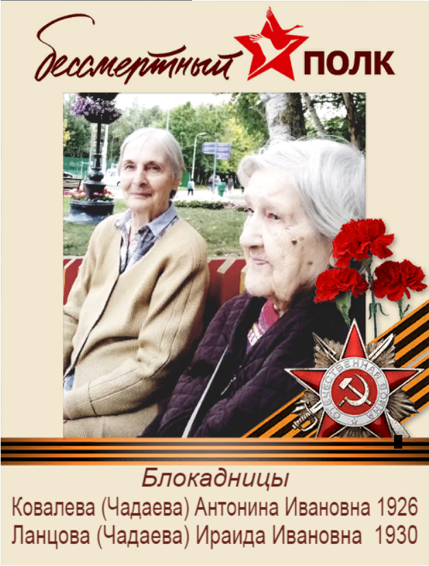 Ковалёва (Чадаева) Антонина Ивановна, Ланцова (Чадаева) Ираида Ивановна